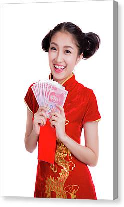 Asian Woman With Red Pocket For Chinese New Year Canvas Print