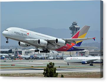 Canvas Print featuring the photograph Asiana Airbus A380-800 Hl7626 Los Angeles International Airport May 3 2016 by Brian Lockett