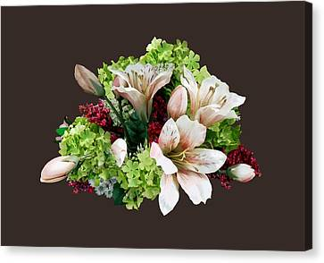 Asiatic Lilies, Hydrangea And Berries Canvas Print by Susan Savad