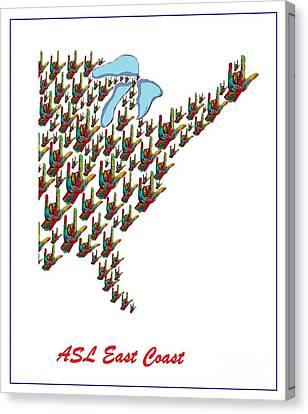 Asl East Coast Map Canvas Print by Eloise Schneider