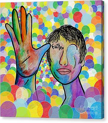 Asl Father On A Bright Bubble Background Canvas Print by Eloise Schneider