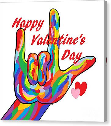Asl Happy Valentine's Day I Love You Canvas Print by Eloise Schneider