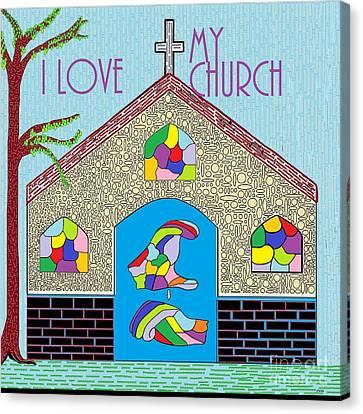Asl I Love My Church Canvas Print by Eloise Schneider