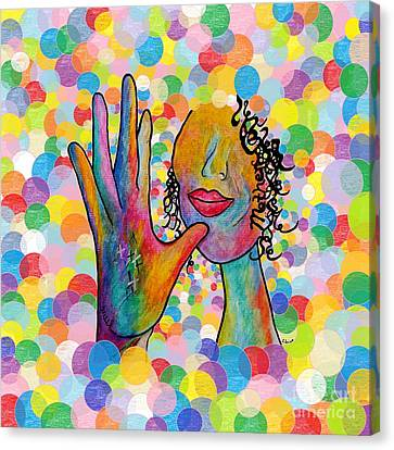 Asl Mother On A Bright Bubble Background Canvas Print by Eloise Schneider