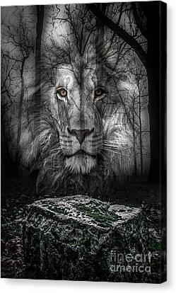 Aslan And The Stone Table Canvas Print by Michael Arend