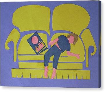 Canvas Print featuring the mixed media Asleep by Betty Pieper