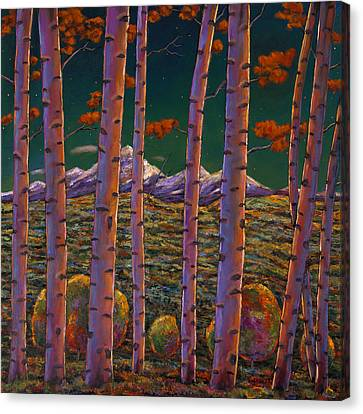 Aspen At Night Canvas Print by Johnathan Harris