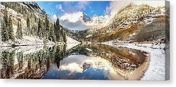 Canvas Print featuring the photograph Aspen Colorado Maroon Bells Panorama by Gregory Ballos