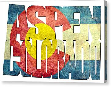Aspen Colorado Typography - State Flag Canvas Print by Gregory Ballos