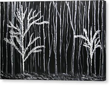 Canvas Print featuring the painting Aspen Forest by Dolores  Deal