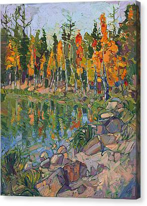 Canvas Print featuring the painting Aspen Row by Erin Hanson