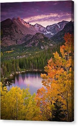 Glacier National Park Canvas Print - Aspen Sunset Over Bear Lake by Mike Berenson