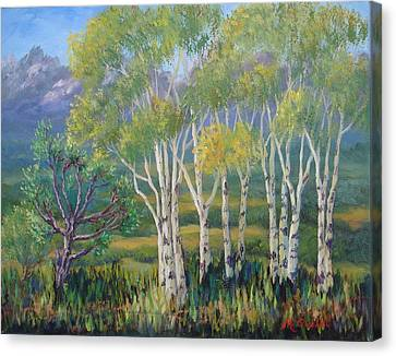 Aspens In The Rockies Canvas Print by Maxine Ouellet