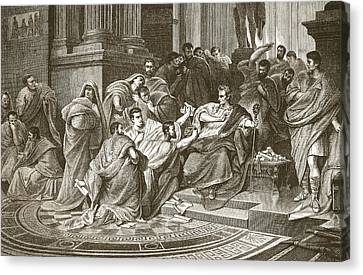 Assassination Of Julius Caesar Canvas Print by English School