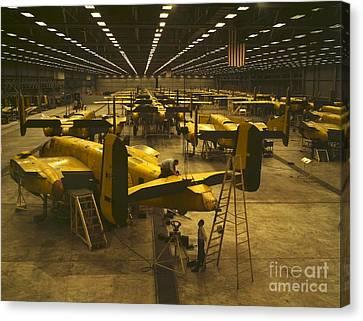 Assembling B-25 Bombers Canvas Print by Padre Art