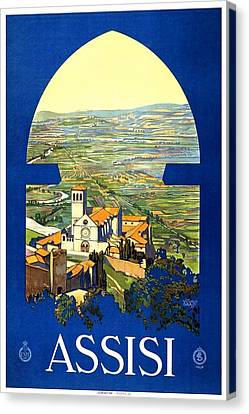 Italian Landscapes Canvas Print - Assisi Italy - Vintage Travel Poster - Landscape Painting by Studio Grafiikka