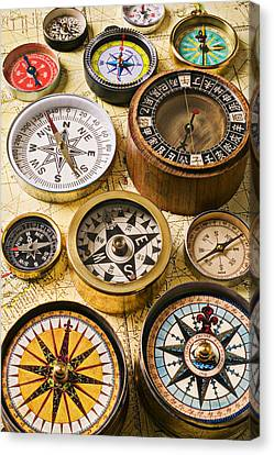Assorted Compasses Canvas Print