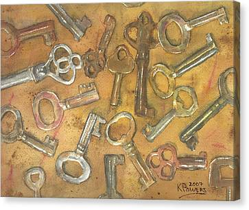 Assorted Skeleton Keys Canvas Print by Ken Powers