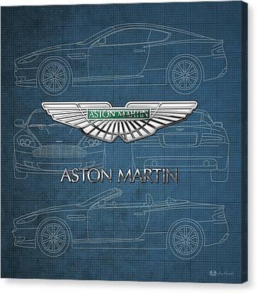 Transportation Canvas Print - Aston Martin 3 D Badge Over Aston Martin D B 9 Blueprint by Serge Averbukh