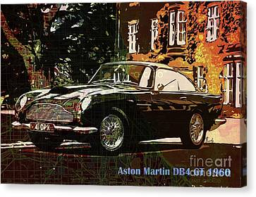 Aston Martin Db4 Gt 1960 On Old Chicago Map Canvas Print by Pablo Franchi