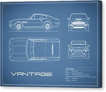 Aston Martin Canvas Print - Aston Martin V8 Vantage Blueprint by Mark Rogan