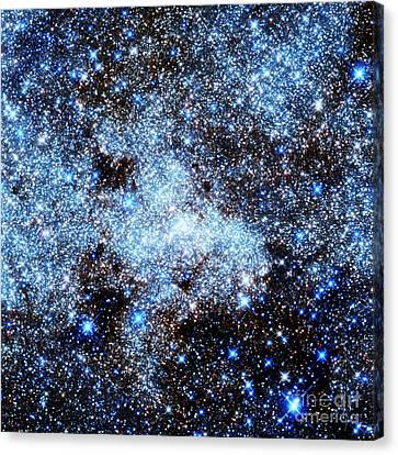 Astral Glitter Milky Way Blue Black Canvas Print