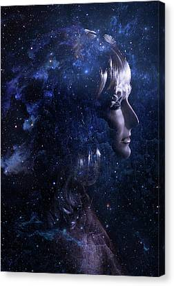 Girl Profile Canvas Print - Astral Journey by Cambion Art