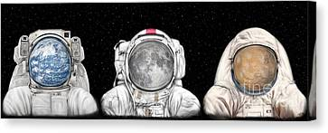 Astronaut Triptych Canvas Print by Tharsis Artworks
