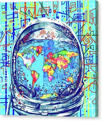 Astronaut World Map 2 Canvas Print by Bekim Art