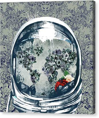 Astronaut World Map 5 Canvas Print by Bekim Art