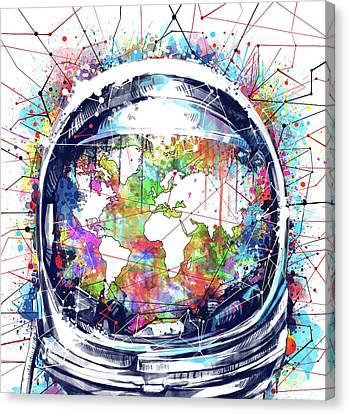World System Canvas Print - Astronaut World Map 6 by Bekim Art