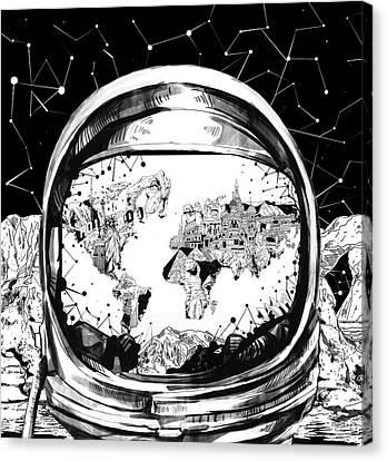 Astronaut World Map 8 Canvas Print