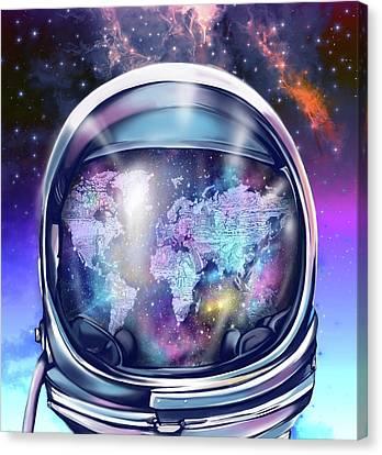 Astronaut World Map 9 Canvas Print by Bekim Art
