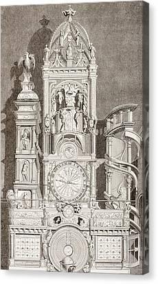 Astronomical Canvas Print - Astronomical Clock In Notre Dame by Vintage Design Pics