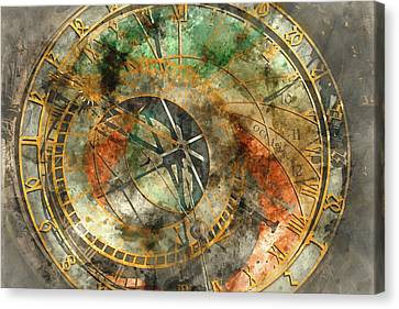 Astronomical Clock In The Old Town Square In Prague Canvas Print by Brandon Bourdages