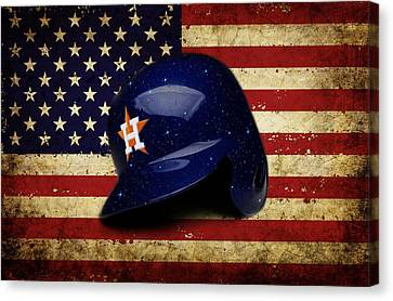 Baseball Park Canvas Print - Astros Batting Helmet by Dan Haraga