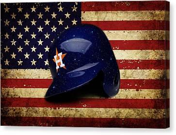 Astros Batting Helmet Canvas Print