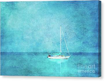 Canvas Print featuring the mixed media At Anchor by Betty LaRue