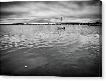 Canvas Print featuring the photograph At Anchor In The Harbor by Rick Berk