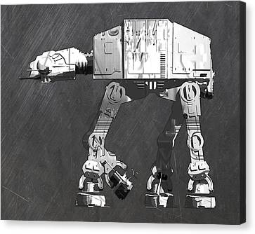 At At Walker From Star Wars Vintage Recycled License Plate Scrap Metal Art Canvas Print by Design Turnpike
