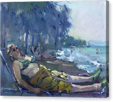 Athens Canvas Print - At Dilesi Beach Greece by Ylli Haruni