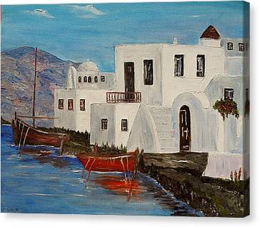 Canvas Print featuring the painting At Home In Greece by Marilyn  McNish