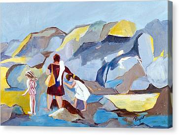 Canvas Print featuring the painting At Laguna Beach by Betty Pieper
