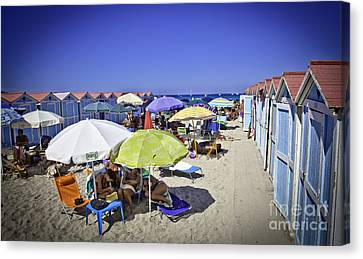 At Mondello Beach - Sicily Canvas Print by Madeline Ellis