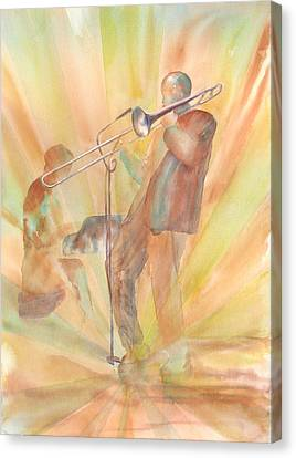 At One With The Music Canvas Print by Debbie Lewis