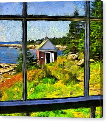 Rocky Maine Coast Canvas Print - At Pemaquid Point Maine by Judy Coggin