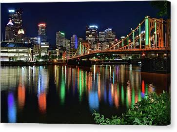 Upmc Canvas Print - At Rivers Edge In Pittsburgh by Frozen in Time Fine Art Photography