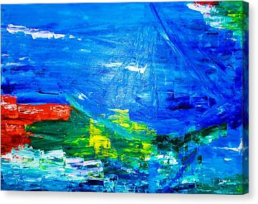 Canvas Print featuring the painting At Sea by Piety Dsilva