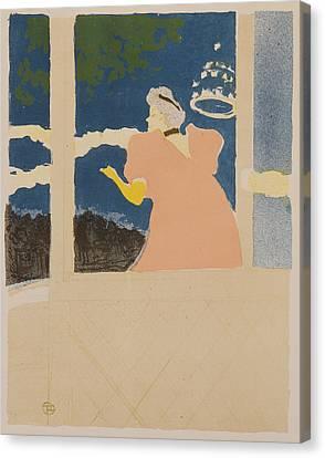 At The Ambassador Theater Canvas Print by Henri de Toulouse-Lautrec