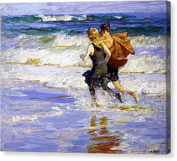 At The Beach Canvas Print by Edward Henry Potthast